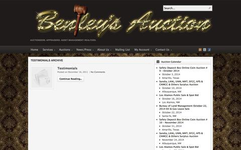 Screenshot of Testimonials Page auctionsouthwest.com - Testimonials | Bentley & Associates, LLC - The Southwest's Premier Auction Company - captured Oct. 5, 2014