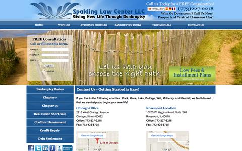 Screenshot of Privacy Page Contact Page spaldinglawcenter.com - Bankruptcy Lawyer in Rosemont, IL and Chicago - captured Oct. 26, 2014