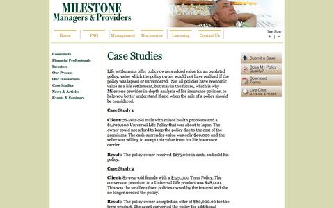 Screenshot of Case Studies Page milestonesettlements.com - Case Studies - Life Settlements | MILESTONE | Life Settlement Provider for Consumers, Insurance Agents, Brokers, Investors - captured Dec. 20, 2016