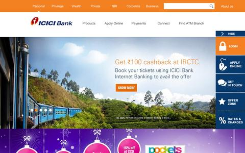 Screenshot of Home Page icicibank.com - Personal Banking, Online Banking Services - ICICI Bank - captured Dec. 31, 2015