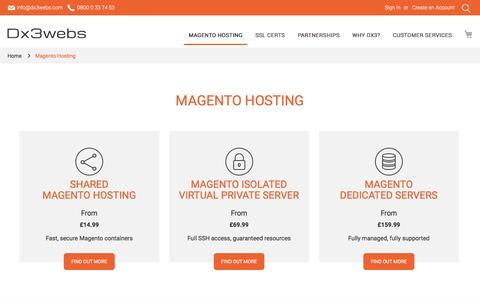 Screenshot of Trial Page dx3webs.com - Magento Hosting - captured Aug. 3, 2016