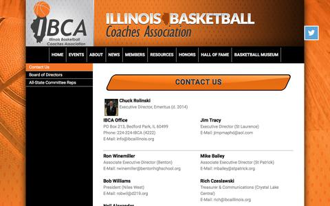 Screenshot of Contact Page ibcaillinois.org - Illinois Basketball Coaches Association - captured Oct. 14, 2017