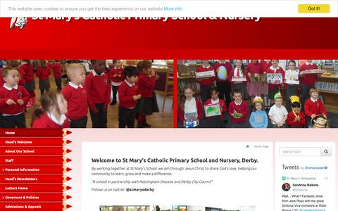 Screenshot of Home Page stmarys-derby.co.uk - St Mary's Catholic Primary School & Nursery Derby - Home Page - captured Oct. 29, 2018