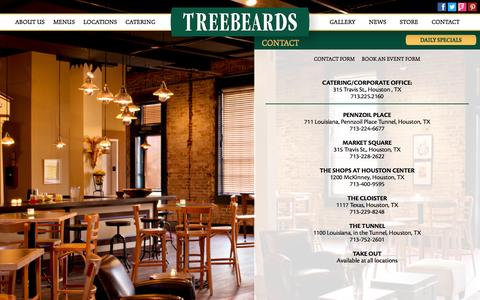 Screenshot of Contact Page treebeards.com - Treebeards | Texas Restaurants | Home Cooked Food - captured Feb. 24, 2016