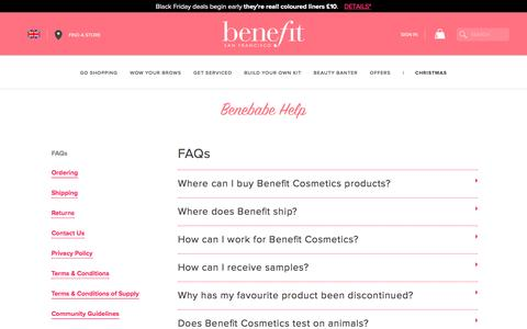 Screenshot of FAQ Page benefitcosmetics.com - Frequently Asked Questions | Benefit Cosmetics - captured Nov. 25, 2016