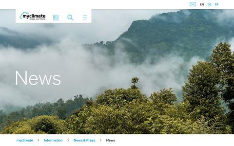 Screenshot of Press Page myclimate.org - News - captured Nov. 14, 2018