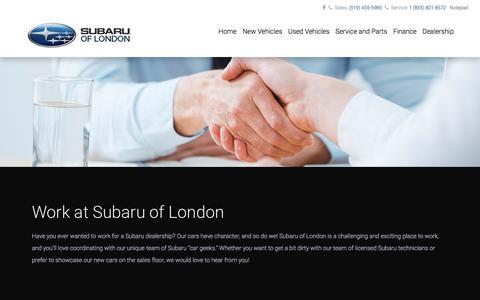 Screenshot of Jobs Page subaruoflondon.com - London, ON car dealership jobs & careers – Sales, Admin at Subaru of London - captured Oct. 1, 2017