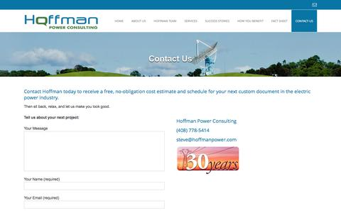 Screenshot of Contact Page hoffmanpower.com - Contact Hoffman Power Consulting - captured Nov. 10, 2016