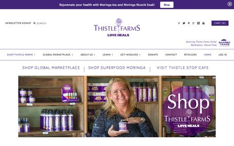 Screenshot of Home Page thistlefarms.org - Thistle Farms / Shared Trade Marketplace - captured Oct. 11, 2015