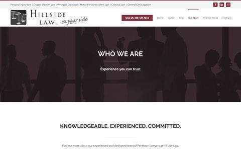 Screenshot of Team Page hillsidelaw.ca - Our Team - Hillside Law Inc. - captured Aug. 14, 2017