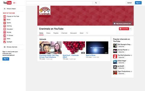Screenshot of YouTube Page youtube.com - Cranimals on YouTube  - YouTube - captured Oct. 22, 2014