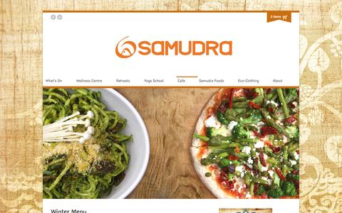 Screenshot of Menu Page samudra.com.au - Dunsborough Organic Restaurant, Woodfired Pizza, Dunsborough Vegetarian Café, Perth Vegetarian Café, Perth Raw Food Café, Margaret River Raw Food, Margaret River Vegetarian Food, Busselton Raw Food, Busselton Vegetarian Food, Australian Raw Food, Aus - captured Sept. 30, 2014