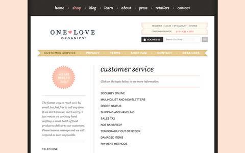 Screenshot of Support Page oneloveorganics.com - Customer Service | One Love Organics - captured Oct. 26, 2014