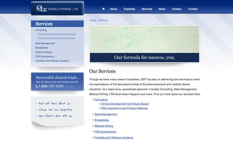 Screenshot of Services Page qstconsultations.com - Services - QST Consultations, LTD. - captured Sept. 27, 2014