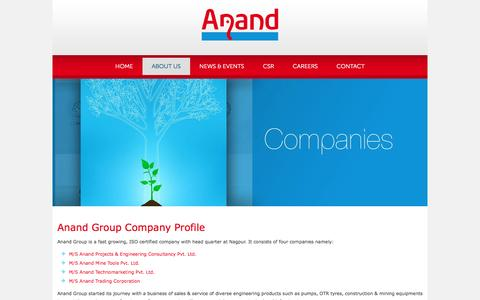 Screenshot of About Page anandgroup.co - About Us - Anand Group - captured Dec. 25, 2015