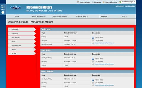 Screenshot of Hours Page mccormickmtrs.com - Dealership Hours at McCormick Motors - Your Ida Grove, Iowa Ford dealer - captured June 24, 2016