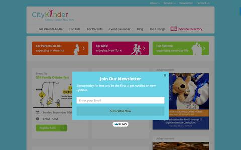 Screenshot of Home Page citykinder.com - Germans in New York | Family Events, Seminars & Community | CityKinder - captured Sept. 28, 2018