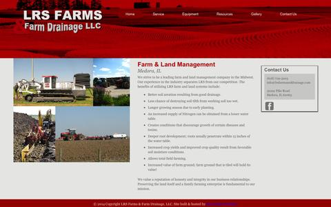 Screenshot of Home Page lrsfarmsanddrainage.com - Farm & Land Management Medora IL   LRS Farms - captured Sept. 26, 2014