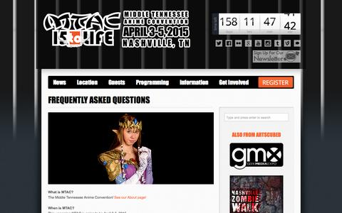 Screenshot of FAQ Page mtac.net - Frequently Asked Questions   Middle Tennessee Anime Convention - captured Oct. 27, 2014