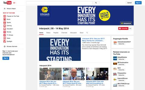 Screenshot of YouTube Page youtube.com - interpack | 08 - 14 May  2014  - YouTube - captured Oct. 22, 2014