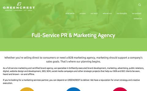 Screenshot of Services Page greencrest.com - Boost Sales with GREENCREST | B2C & B2B Marketing Agency - captured Sept. 16, 2018