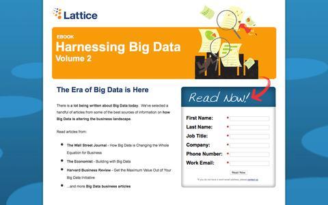 Screenshot of Landing Page lattice-engines.com - Harnessing Big Data: Volume 2 - captured Dec. 15, 2015