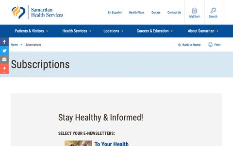 Screenshot of Signup Page samhealth.org - Subscriptions | Samaritan Health Services - captured Oct. 2, 2018