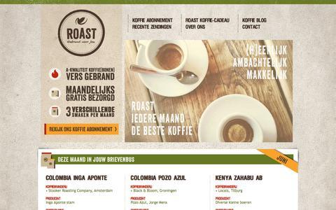 Screenshot of Home Page roast.nl - Vers gebrand, maandelijks drie smaken thuisbezorgd - Roast - captured June 15, 2017