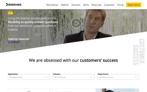 Screenshot of Case Studies Page sisense.com - Business Intelligence Customers, Case Studies and Reviews | Sisense - captured July 9, 2018