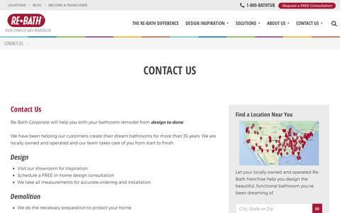 Screenshot of Contact Page rebath.com - Contact Us | Bathroom Remodeler | Re-Bath Corporate - captured Nov. 19, 2016