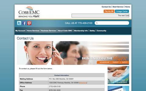 Screenshot of Contact Page cobbemc.com - Contact Us   Cobb EMC - captured Nov. 4, 2014