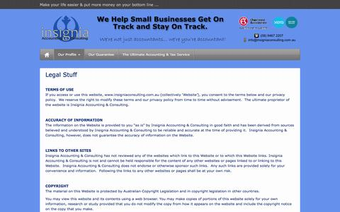 Screenshot of Terms Page insigniaconsulting.com.au - Legal Stuff | Insignia Accounting & Consulting - captured Sept. 30, 2014
