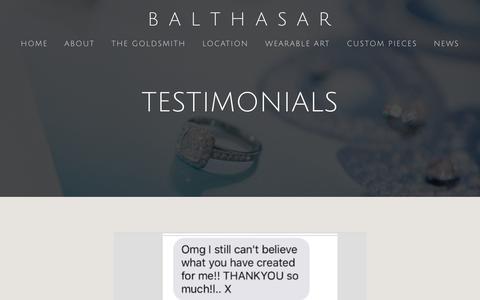 Screenshot of Testimonials Page balthasar.com.au - TESTIMONIALS — B  A  L  T  H  A  S  A  R - captured Oct. 9, 2017