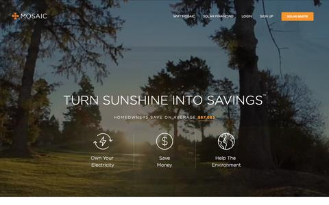 Screenshot of Home Page joinmosaic.com - Home Solar Panel Loans | Affordable Financing | Mosaic - captured Dec. 6, 2015