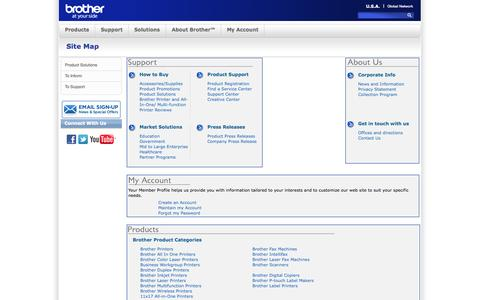 Screenshot of Site Map Page brother-usa.com - Brother International - Site Map - captured Sept. 19, 2014
