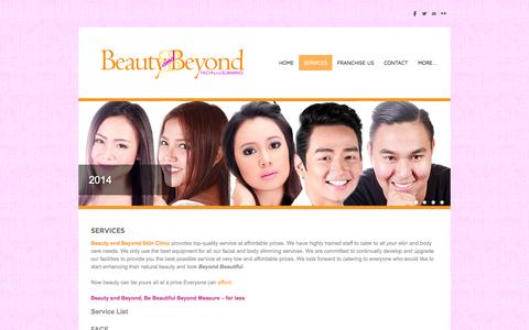 Screenshot of Services Page beautyandbeyondphilippines.com - Services - Beauty and Beyond Aesthetic Clinic - captured Oct. 5, 2014