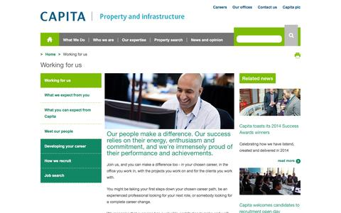 Screenshot of Jobs Page capitasymonds.com - Working for us  - Capita Property and Infrastructure - captured Feb. 6, 2016
