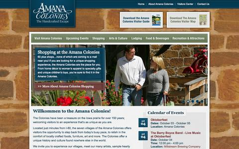 Screenshot of Home Page amanacolonies.com - Amana Colonies in Iowa | The Handcrafted Escape - captured Oct. 4, 2014
