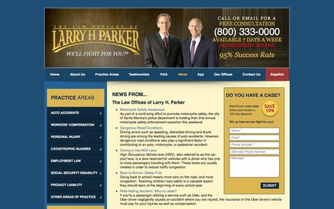 Screenshot of Press Page larryhparker.com - Legal News About Personal Injury Law & Accident Litigation in Los Angeles CA, Long Beach & Phoenix: The Law Offices of Larry H. Parker - captured Aug. 23, 2016