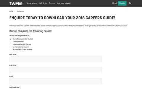 Enquire today to download your 2018 Careers Guide! - TAFE NSW