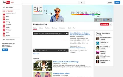 Screenshot of YouTube Page youtube.com - Photos In Color  - YouTube - captured Oct. 23, 2014