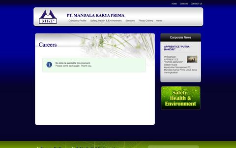 Screenshot of Jobs Page mkpmining.co.id - Careers - captured Oct. 1, 2014