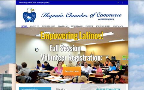 Screenshot of Home Page hccw.org - Hispanic Chamber of Commerce of Wisconsin - captured Oct. 2, 2014