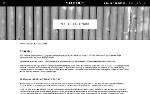 Screenshot of Terms Page sheike.com.au - TERMS & CONDITIONS - captured Aug. 29, 2016