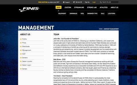 Screenshot of Team Page finisinc.com - Company Management | FINIS - captured Sept. 19, 2014