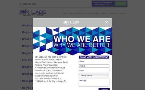 Screenshot of FAQ Page ionlabs.com - FAQ - Ion Labs - captured Oct. 15, 2017
