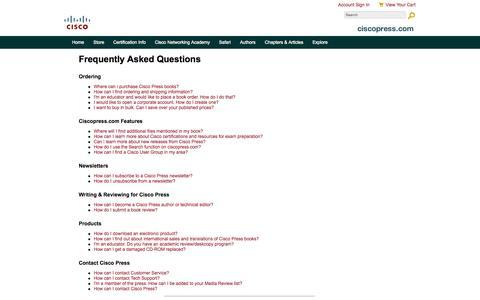 Screenshot of FAQ Page ciscopress.com - About - FAQ - captured Sept. 19, 2014