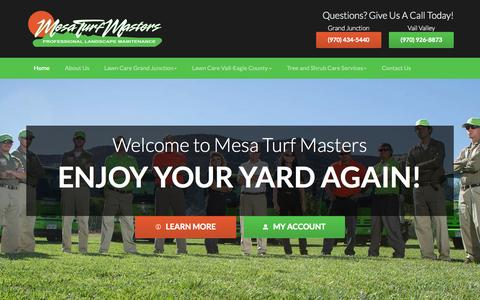 Screenshot of Home Page mesaturfmasters.com - Lawn Care Grand Junction | Landscape Services Vail - Mesa Turf Masters - captured Sept. 6, 2015