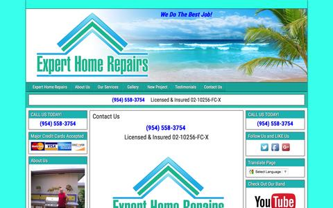 Screenshot of Contact Page experthomerepairs.com - Contact Us - captured March 6, 2016