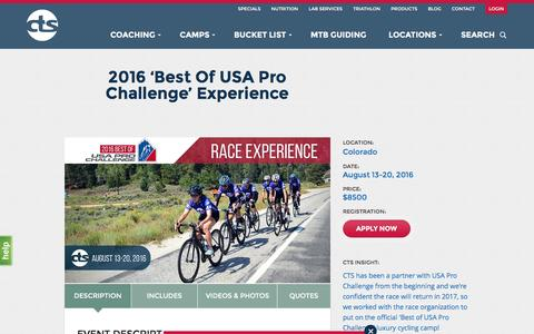 Screenshot of Signup Page trainright.com - 2016 'Best Of USA Pro Challenge' Experience - CTS - captured April 8, 2016